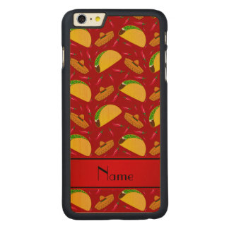 Personalized name red tacos sombreros chilis carved® maple iPhone 6 plus slim case