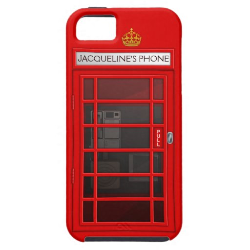 Personalized Name Red Telephone Box iPhone 5 Case
