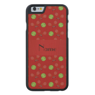 Personalized name red tennis balls rackets carved® maple iPhone 6 slim case