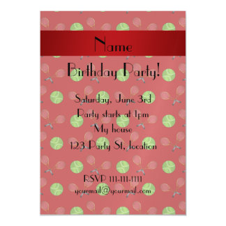 Personalized name red tennis balls rackets magnetic invitations
