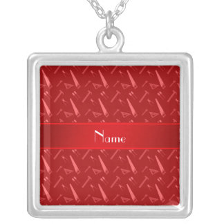Personalized name red tools pattern square pendant necklace