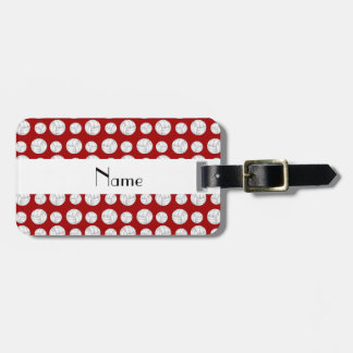 Personalized name red volleyball balls bag tag