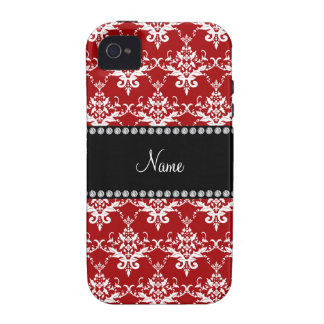 Personalized name red white damask Case-Mate iPhone 4 cases