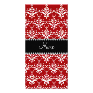 Personalized name red white damask photo card template