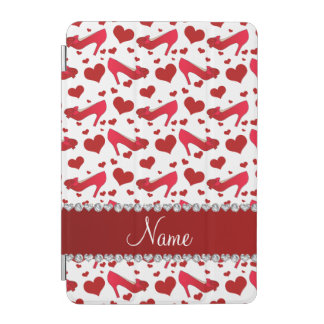 Personalized name red white hearts shoes bows iPad mini cover