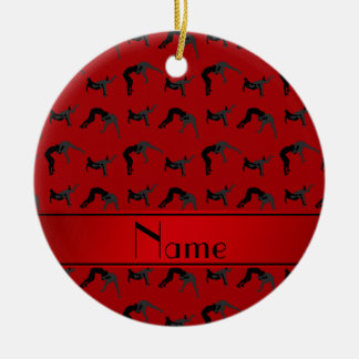Personalized name red wrestling silhouettes round ceramic decoration