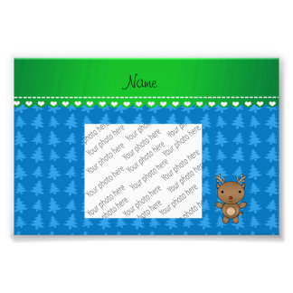 Personalized name reindeer blue christmas trees photo art
