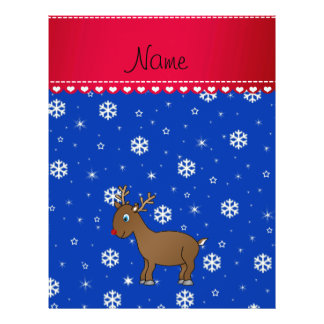 Personalized name reindeer blue snowflakes 21.5 cm x 28 cm flyer