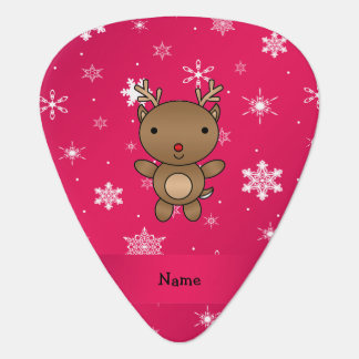 Personalized name reindeer pink snowflakes plectrum