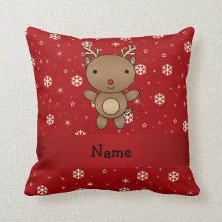 Personalized name reindeer red snowflakes cushion