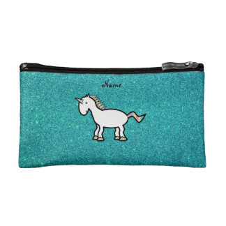 Personalized name retro unicorn turquoise glitter cosmetic bags