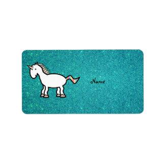 Personalized name retro unicorn turquoise glitter label