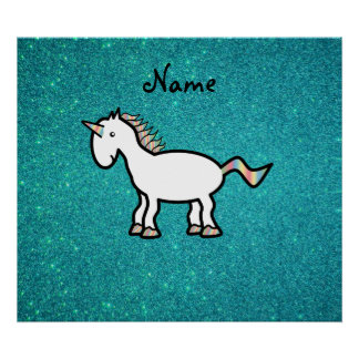 Personalized name retro unicorn turquoise glitter posters