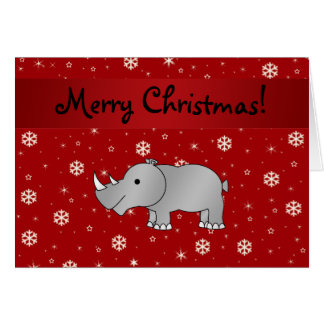 Personalized name rhino red snowflakes greeting card