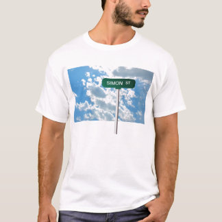 Personalized Name Road Street Sign on Blue Sky T-Shirt