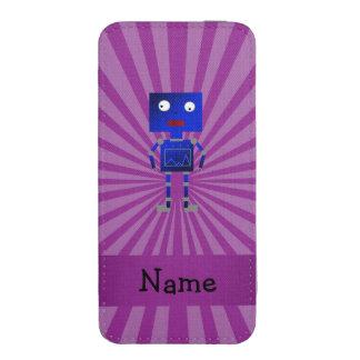 Personalized name robot purple sunburst