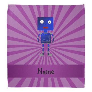 Personalized name robot purple sunburst bandannas