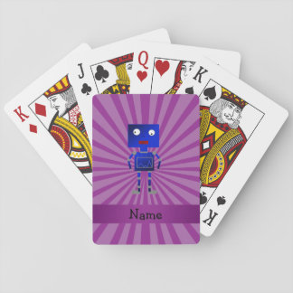 Personalized name robot purple sunburst card decks