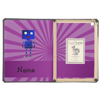 Personalized name robot purple sunburst iPad air cases