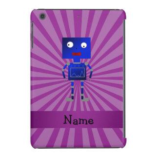 Personalized name robot purple sunburst iPad mini cover
