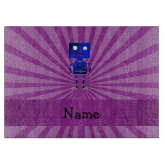 Personalized name robot purple sunburst cutting boards