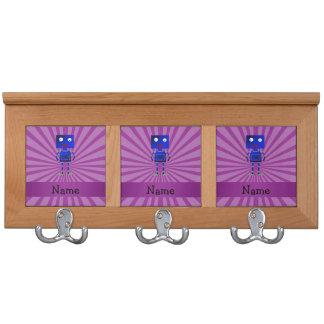 Personalized name robot purple sunburst coat rack