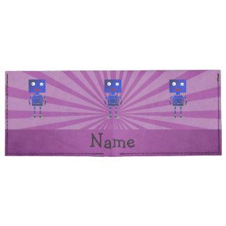 Personalized name robot purple sunburst tyvek® billfold wallet