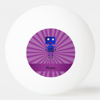 Personalized name robot purple sunburst Ping-Pong ball