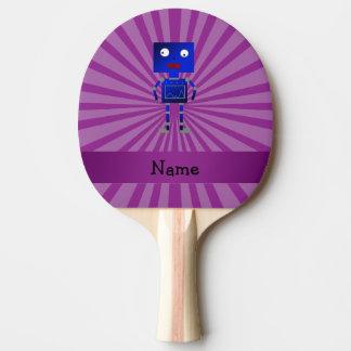 Personalized name robot purple sunburst Ping-Pong paddle