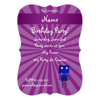 Personalized name robot purple sunburst invite