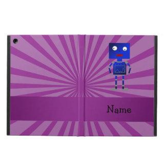 Personalized name robot purple sunburst iPad air cover