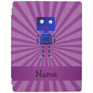 Personalized name robot purple sunburst iPad cover