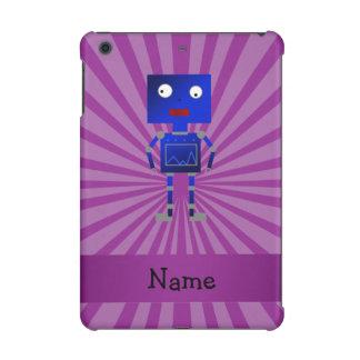 Personalized name robot purple sunburst iPad mini retina cases