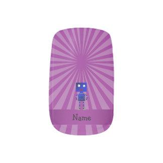 Personalized name robot purple sunburst  Minx® nail art
