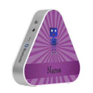 Personalized name robot purple sunburst speaker