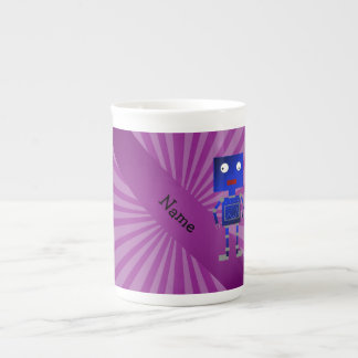 Personalized name robot purple sunburst bone china mugs