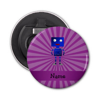 Personalized name robot purple sunburst button bottle opener