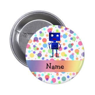 Personalized name robot rainbow polka dots 6 cm round badge