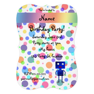 Personalized name robot rainbow polka dots personalized invitations