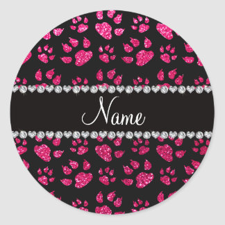 Personalized name rose pink glitter cat paws classic round sticker