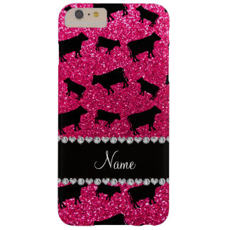 Personalized name rose pink glitter cows barely there iPhone 6 plus case