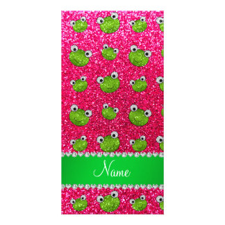 Personalized name rose pink glitter frogs picture card