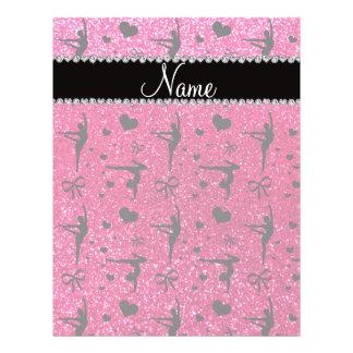 Personalized name rose pink glitter gymnastics 21.5 cm x 28 cm flyer