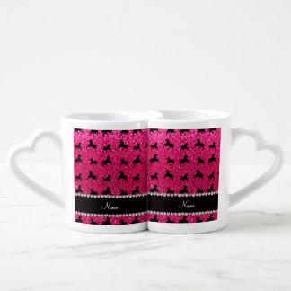 Personalized name rose pink glitter horses lovers mug