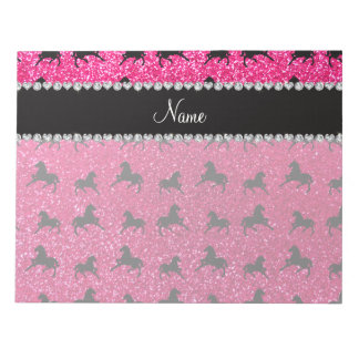 Personalized name rose pink glitter horses notepad