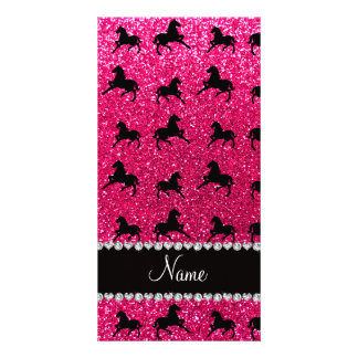 Personalized name rose pink glitter horses customized photo card