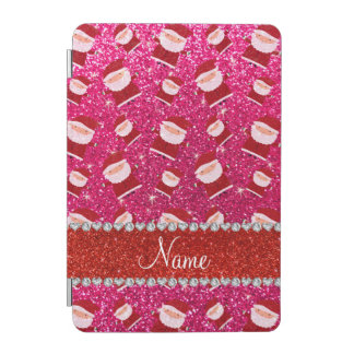 Personalized name rose pink glitter santas iPad mini cover