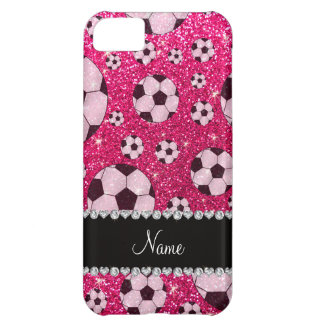 Personalized name rose pink glitter soccer iPhone 5C case