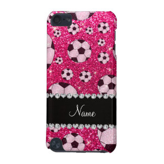 Personalized name rose pink glitter soccer iPod touch (5th generation) cover