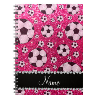 Personalized name rose pink glitter soccer notebook